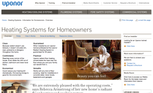 Screenshot taken from www.uponor-usa.com